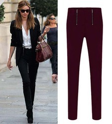 Wine Spandex Slim Double Zipper Pant