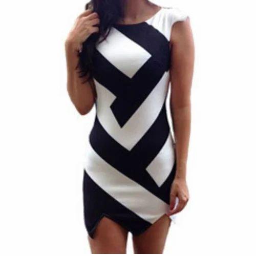 08e7efc77e16 Cotton Geometric Print Black & White Party Wear Dress | ID: 6742057988
