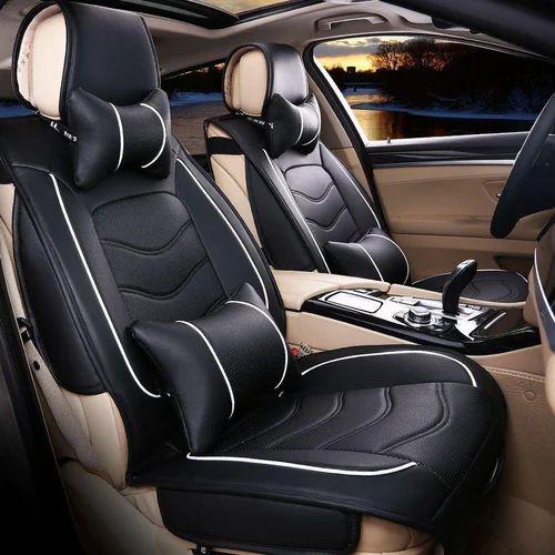 Black Plain Car Seat Rexine Cover