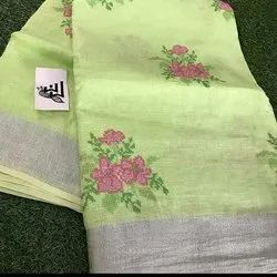 Linen Sarees With Computerized Embroidery Work
