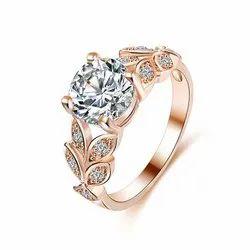 Sheetal Impex 1.00CTW SI / FG颜色真正的天然钻石螺柱14KT玫瑰金定形戒指