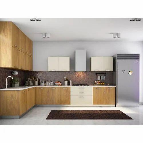 L Shape Wooden Shaped Modular Kitchen
