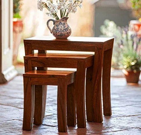 Rectangle Shape Nesting Tables Sheesham Wood Stools Set Of 3 at Rs ...