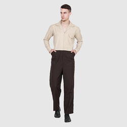 Brown and Beige Full Sleeve Industrial Dungaree