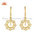 Yellow Gold Plated Designer Vishuddha Chakra Plain Silver Earrings