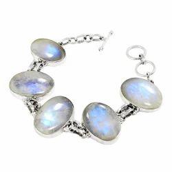 Party Wear 925 Silver Rainbow Moonstone Bracelet, 35 Gm