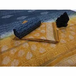 Blue and Yellow Chanderi Suit Fabric