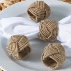 Braided Rope Napkin Rings Handcrafted of Natural Jute Napkin Holder