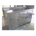 Tgpe Silver Stainless Steel Table With 3 Drawers And 3 Lockers