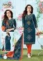 Female Casual Wear Bandhani Cotton Print Dress Materials, Size: Unstitch, Gsm: 150-200