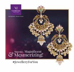VaibhavJewellers Golden Precious Earrings