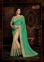 Designer Half and Half Saree with Blouse Piece, Saree Length: 6.3 m