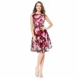 S-XL Printed Ladies Stylish Party Wear Dress