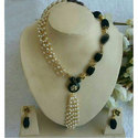 Black, Golden And White Anniversary Fancy Silk Thread Necklace Set