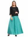 Cottinfab Solid Black Ethnic Long Skirts
