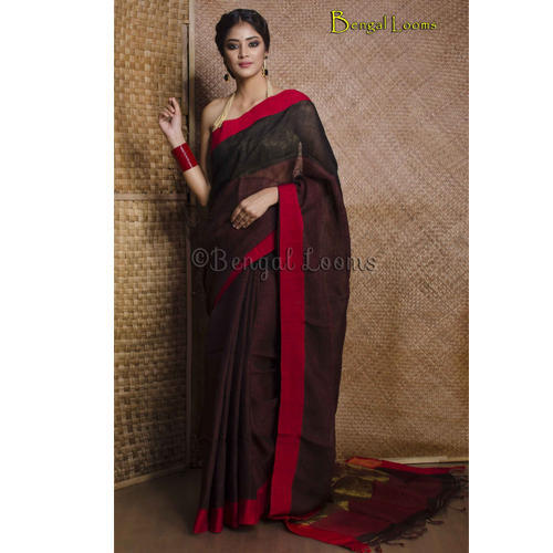 110a19d7eed Contemporary Linen Saree in Black and Red