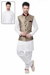Men's Readymade Kurta Pyjama With Nehru Jacket