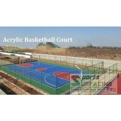 Deco Turf Acrylic Synthetic Outdoor Basketball Court Flooring Service, For Sports