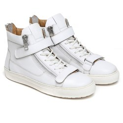 Tri Zip Velcro Strap White Leather Sneakers