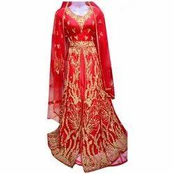 Ladies Red Bridal Floor Length Anarkali Suit, Packaging Type: Box