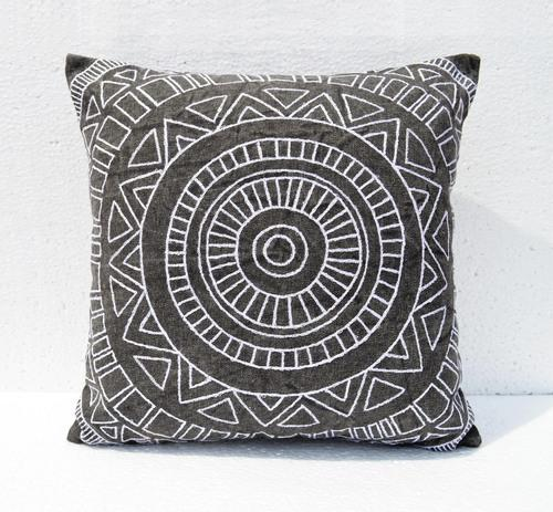 Charcoal Colour Embroidery Aztec Pattern Pillow Cover At Rs 665