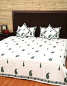 Cotton Block Printed Bed Sheet with Pillow Cover