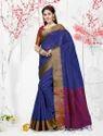 Chanderi Silk Dark Blue Casual Saree