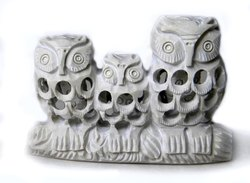 3 Owl Sitting On a Tree Undercut Carved Soapstone