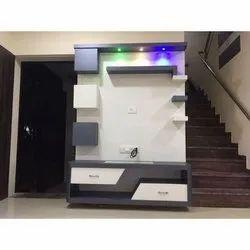 Brown Plywood Lighting TV Unit Set, For Home