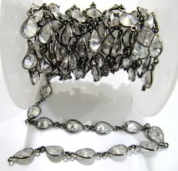 Cubic Zirconia  Pear Shape Connector Chain