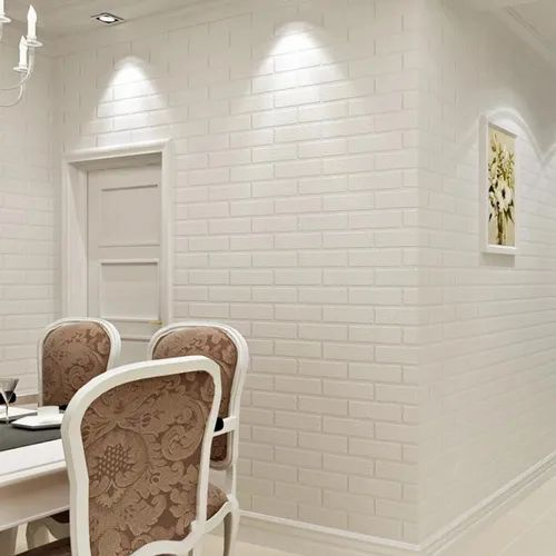 Wallpaper Roll 10 Meters 3d Brick For Home Office And Cafe White Thick Embossed Vinyl