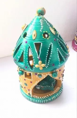 Tera Cotta Multicolor Handcrafted Hanging Diya, Packaging Type: Box