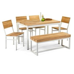 Garud Enterprises White, Brown Wooden Dinning Table Set, 1table, 4 Chair And 1 Bench, Size/Dimension: 180*90*75 Cm