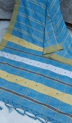 Linen Check Saree