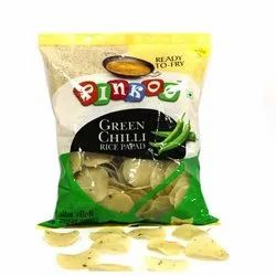 Green Chilli Rice Papad, Packaging Size: 250 Gm