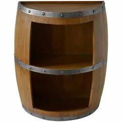 Half Wine Barrel Open-Front Accent Cabinet