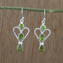 Beautiful Peridot Gemstone 925 Sterling Silver Earrings