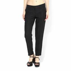 Cotton Black Ladies Plain Trouser