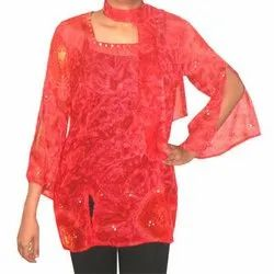 Georgette Kurta with Mirror Embroidery