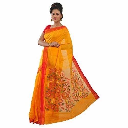 157881e904af5a Half fine Zari Gold Jamdani Silk Saree, Machine, 5.2 m (separate blouse  piece
