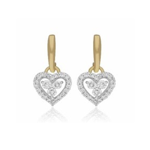 0 28cts Diamond Earring Heart Shape Hoop 18kt Yellow Gold