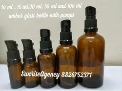 Amber Glass Bottle With Lotion Or Oil Pumps