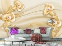 999store Printed Golden Flowers And Leaves Wallpaper