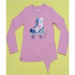 Pink Girls Cotton T-Shirt, Size: 5-7 Years