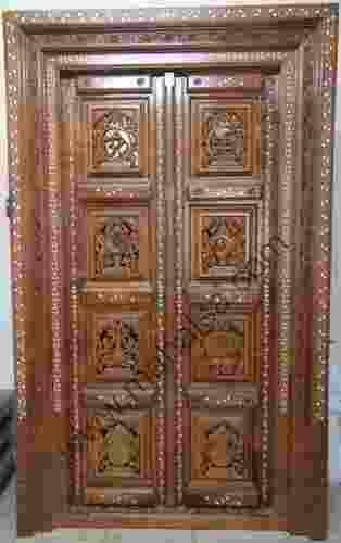 Teakwood Pooja Door With Shanku Chakra Gada Amp Padma Rs