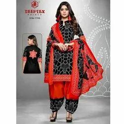 Cotton 44-45 Deeptex Unstitched Bandhani Suit Material