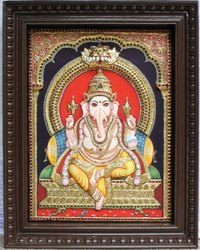 Embossed Ganapathi Tanjore Painting