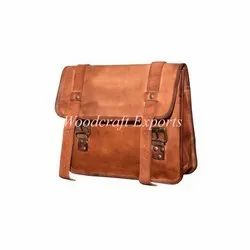 Woodcraft Exports Plain Brown Leather Hand Made Bag