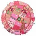 Indian Vintage Embroidered Home Decor Cotton Round Floor Cushions 32 Inches