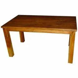 Restaurant Brown Teak Wood Rectangle Table
